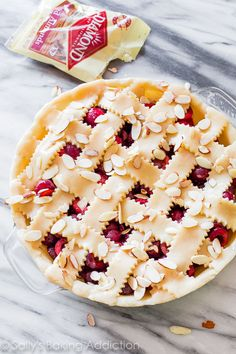 Sweet Cherry Pie with Toasted Almonds on sallysbakingaddiction.com