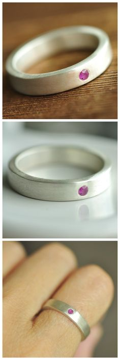 modern flush set ruby ring. A heavy duty ring with just the right amount of sparkle. Love the satin finish. So gorgeous!
