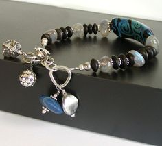 Lampwork Bracelet with Labradorite, Lapis and Artisan Silver By JQJewelryDesigns #jewelry #etsy