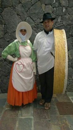Couple in traditional folk costume. Spanish island of  Lanzarote,