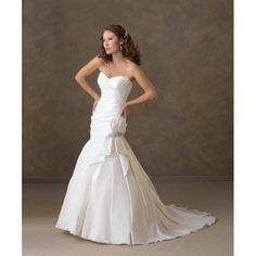 Taffeta Strapless Sweetheart Neckline With Asymmetrical Pleat and Mermaid Chapel Train Hot Sell Wedding Dress WB-0065