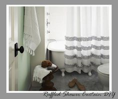 Ruffled Shower Curtain Tutorial {Bathroom Accessories}