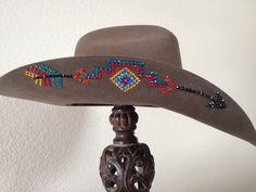 8375b99eef0 Custom designed Aztec design on rodeo king tan belly felt. See more on  Facebook. Cowboy Hat ...