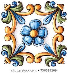 Tole Painting, Pottery Painting, Ceramic Painting, Art Floral, Painted Pavers, African Art Paintings, Antique Tiles, Vintage Ornaments, Vintage Santas