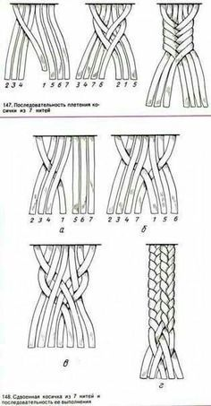 Macrame - seven strand braid by barbara billiard 7 by jean Bracelet Crafts, Macrame Projects, Craft Projects, Macrame Tutorial, Macrame Patterns, Crochet Patterns, Micro Macrame, Macrame Jewelry, Bracelet Patterns