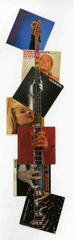 Guitar Neck (1992) by Christian Marclay.  [ #collage #music #records ]
