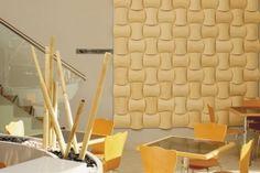 Standard tile designs are sculptural in form and create a distinctive, elegant woven pattern Hunter Douglas, Key Design, Tile Design, Healthcare Design, Bamboo, Walls, Home Decor, 3d Wall, Chicago