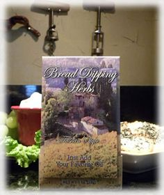 TUSCAN STYLE BREAD DIPPING HERBS Sold at UR Gifts 4 All Seasons Item #BDTS price before discount $5.49  A generous 1/2 cup of our popular Tuscan herb blend packaged in a beautiful folder.