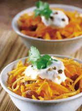 Ingrédients pour Carottes râpées sauce miel épicé30 g de raisins secs, 5 carottes, 1 cuil. à soupe de graines de coriandre, 1 yaourt, 1 cuil. à soupe de miel de fleur d'oranger.