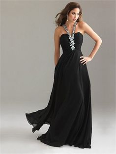 Strap Column Crossing Back Black With Sequins Prom Dress PD0503 www.simpledresses.co.uk £118.0000