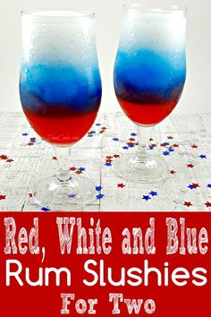 Red, White and Blue Rum Slush for Two - How will you celebrate your patriotism? How about with this refreshing and colorful frozen slush drink made with Grenadine, Blue Curacao, and Rum spiked lemonade. This is the perfect treat for two on a hot summer day or night. #4thOfJuly #IndependanceDay #Rum #RumSlush #RedWhiteBlueDrink #drinks #slush #DrinksForTwo via @ZonaCooks