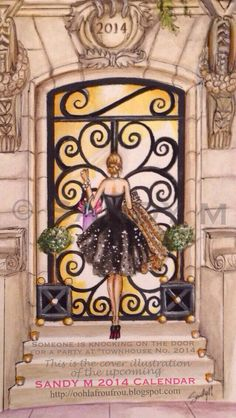 """Someone's knocking on the door for a party in elegant """"Townhouse No. 2014"""" on the cover page illustration of my upcoming 2014 calendar, available later this fall! It's release will be announced on Ooh La Frou Frou http://oohlafroufrou.blogspot.com ~SANDY M"""