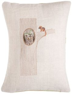 tree pocket pillow with removable owl
