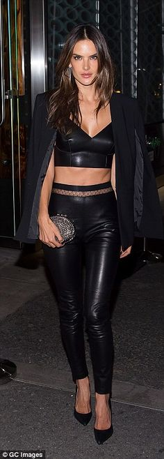 Every day's a catwalk: Alessandra turned heads as she shimmied down the street in her leat...