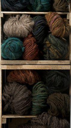 fat puffy handspun lumpy bumpy earth-toned handspun wool yarn from happy local sheep.