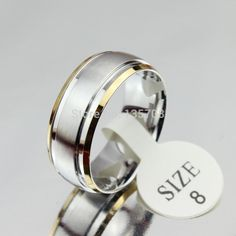 Feature: Fine or Fashion: Fashion Item Type: Rings Rings Type: Wedding Bands Style: Trendy Gender: Men Setting Type: None Material: Metal Occasion: Party Metals Type: Stainless Steel Shape\pattern: Round Material: stainless steel Color: silver&gold Wedding Band Styles, Wedding Bands, 2 Carat Diamond Ring, Titanium Wedding Rings, Gold Plated Rings, Stainless Steel Rings, Types Of Rings, Princess Cut Diamonds, Stone Rings
