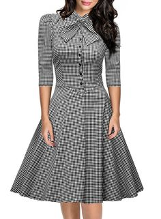 Miusol Women's Official Bow Neck Plaid Slim Half Sleeve Vintage Business Dress (3269) (Small, Gray)
