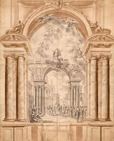 Italian School  | 17th century | Design for a Painting of a Church Procession in an Arcaded Niche | The Morgan Library & Museum