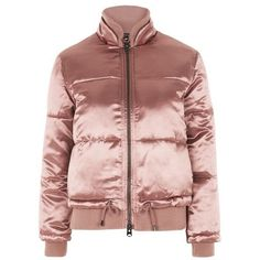 Topshop Quilted Puffer Jacket ($79) ❤ liked on Polyvore featuring outerwear, jackets, pink, pink puffer jacket, pink jacket, puffer jacket, topshop jackets and quilted puffer jacket