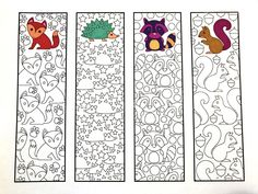 Cute Animal Bookmarks PDF Zentangle Coloring Page with foxes, hedgehogs, raccoons, and squirrelsSix Adorable Animal Bookmarks! – Printable Coloring Pages – Scribble & StitchCute Animal Bookmarks – Male the bookmarks to take notes!Make reading j Animal Coloring Pages, Free Coloring Pages, Printable Coloring Pages, Coloring Sheets, Coloring Books, Zentangle, Free Printable Bookmarks, Animal Design, Cute Animals