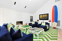 A vivacious fun interior of a modern home in Bridgehampton New York. Reminds one of summer all year long. Alexim Custom Builders