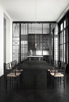 Décor do dia: divisória geométrica na sala de jantar minimalista (Foto: Ruben Ortiz/Divulgação)