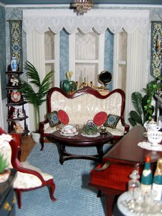 Victorian dollhouse living room