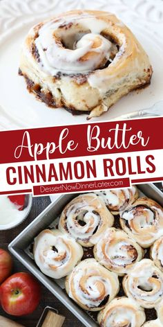These apple butter cinnamon rolls are so easy to make with store-bought dough and a gooey cinnamon-sugar apple butter filling. Top it all off with a simple cream cheese glaze. A great fall or holiday breakfast. Sweet Breakfast, Breakfast Dishes, Breakfast Ideas, Breakfast Recipes, Apple Recipes, Fall Recipes, Baking Recipes, Cinnamon Sugar Apples, Cinnamon Rolls