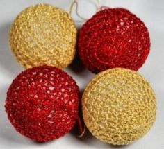 Free pattern for crochet covered Christmas decorations.
