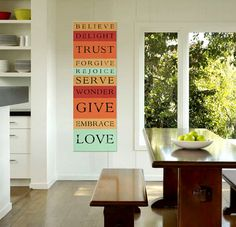 Love Give Serve, Tangerine Striped Bus roll scripture wall decor
