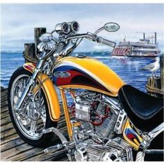 Marc Lacourciere RIVER BOAT RIDER Harley Motorcycle Art