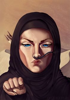 """ordalia-kuk:"""" Final illustration for a futur poster """" I WANT YOU FOR FREMEN ARMY""""Grown up Alia Atreides working hard to build the best Fremen army for her brother.Dune is one of my favourite book saga. I like how Alia is a complex and ambiguous. Alia Atreides, Dune Book, Dune Art, Frank Herbert, My Calvins, His Dark Materials, Sci Fi Books, Best Dance, Dune"""