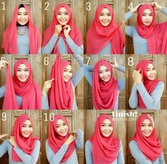 Gorgeous Easy Pink Hijab Tutorial - Hijab Fashion Inspiration This is a very ea. Gorgeous Easy Pink Hijab Tutorial – Hijab Fashion Inspiration This is a very ea… Gorgeous Eas Square Hijab Tutorial, Simple Hijab Tutorial, Turban Tutorial, Hijab Style Tutorial, Modern Hijab Fashion, Hijab Fashion Inspiration, Muslim Fashion, Hijab Dress, Hijab Outfit