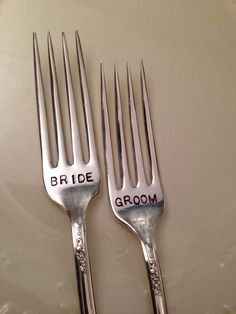 Hand Stamped Silver Forks, Bride and Groom Silver Forks, Wedding, Shower, Bridal, Silver Forks