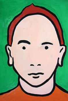 Portrait in the style of Julian Opie. Rebecca Brett. KS3. Year 8. William de Ferrers School.