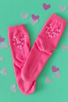 DIY Faux Cross Stitch Socks