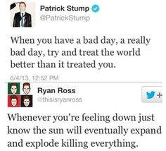 The difference between Patrick Stump from Fall Out Boy and Ryan Ross from Panic! At The Disco. Priceless.