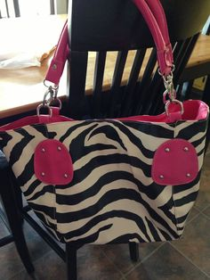 Pink trim zebra purse