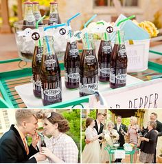 A Dr Pepper drink cart for your wedding! So cute!