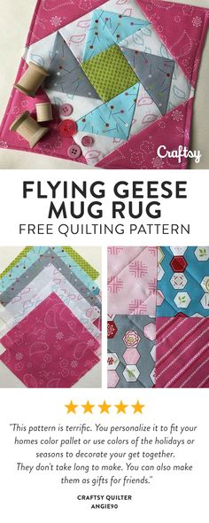 Use up the charm squares in your stash while learning to make folded flying geese, sew partial seams and use a pillowcase binding. Free Intermediate Quilt Pattern.