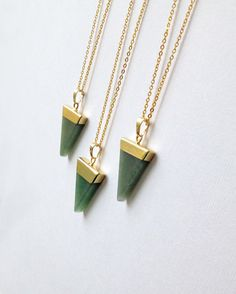 High Quality Aventurine Crystal Triangle Necklace 18K Gold Dipped by NikkysCrystalCouture on Etsy https://www.etsy.com/listing/218151306/high-quality-aventurine-crystal-triangle