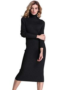 a2be9107f85 PrettyGuide Women Slim Fit Ribbed Turtleneck Long Sleeve Maxi Knit Sweater  Dress at Amazon Women s Clothing store