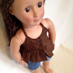 Brown Halter Top and Cut Off Jeans For 18 Inch Doll