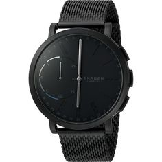 Skagen Hagen Connected Hybrid Smartwatch - SKT1109 (Black) Watches ($225) ❤ liked on Polyvore featuring men's fashion, men's jewelry, men's watches, skagen mens watches, mens analog watches, mens black face watches and mens dual time zone watches