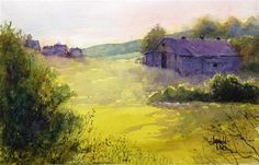"""Daily Paintworks - """"Morning Has Broken"""" by Judy Mudd ~ watercolor 8x10"""" matted to 11x14"""" For sale by auction.--opening bid $20"""