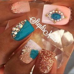 #Turquoisecameo#crystals#coral#white#ombre#notpolish#allacrylic#turquoise#rosegold#glitter#nude#glitterombre#nudeandturquoiseflowers#cute#roseygoldcrystals#caviarbeads#love#diamonds#cute#cameonails#jewelryforyourhands#stephsnails