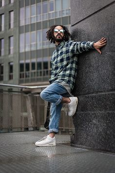 Get this look: http://lb.nu/look/8258677  More looks by Kas: http://lb.nu/kasisill  Items in this look:  S.Oliver Dark Night Check, S.Oliver Sky Blue   Jeans, Nike Airmax 90   Triple White, Kapten & Son Mirrored White/Blue Sunglasses   #dapper #retro #street #soliver #lookbook #ootdmen #streetfashion #ootdmagazine #urban