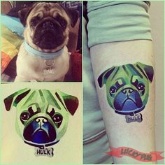 Hulk Pug Tattoo On Catherine, by Sasha Unisex, St Petersburg, Russia - www.luckypug.com