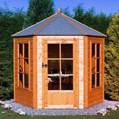 The Shire summerhouse gazebo makes an elegant feature in the garden with its hexagonal structure.  The hexagonal structure adds a touch of class to any garden Shiplap tongue and groove walls look attractive, while also aiding water run-off  Tongue and groove floor looks great in a summerhouse Proper joinery windows and door