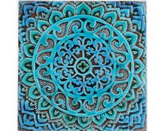 Mandala muur opknoping gemaakt van keramiek - buitenmuur art - mandala kunst - mandala muur opknoping - handgemaakte tegel - mandala1 - turkoois